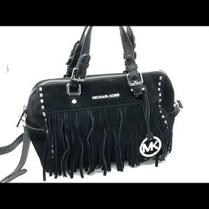 Michael Kors Black Suede Billy Satchel Purse
